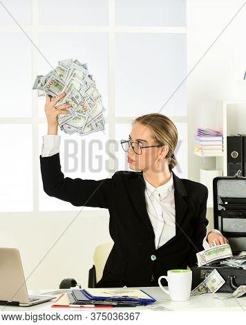 Happy Woman. Success Is Measured By Money. Security Cash Money Savings. Banking Concept. Black Cash.