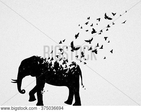 Elephant Silhouette, Flying Birds. Endangered Animal. Life And Death. Wildlife Protection Concept. M