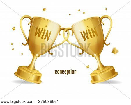 Realistic Detailed 3d Two Gold Cups Win Win Concept Best Business Strategy. Vector Illustration