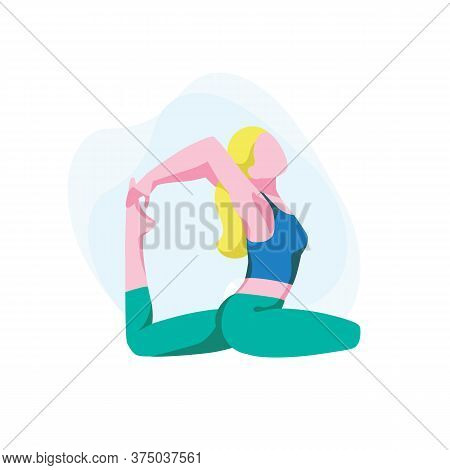 Woman Sits In Rajakapotasana Posture And Meditate. Flexible Girl Demonstrating King Pigeon Pose. Fem