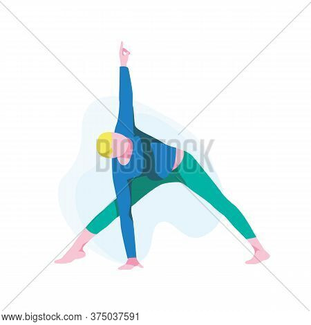 Man Practicing Yoga, Guy Standing In Triangle Position. Male Athlete Character In Sportswear Perform