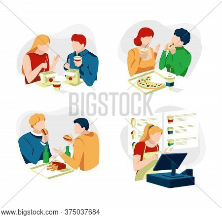 Collection Of People Sitting And Eating Different Delicious Meals. Set Of Men And Women Tries Tasty