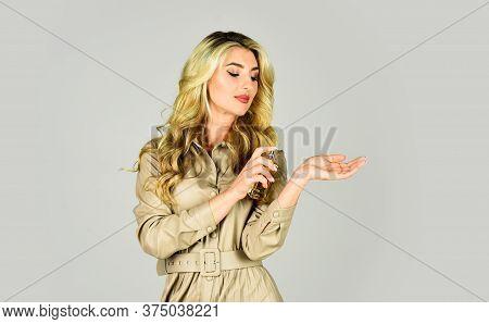 Apply Fragrance Skin. Spray Perfume. Female Fragrance. Aroma Emphasizes Her Charm, Spontaneity And E