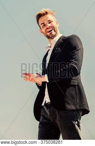 Handsome Guy Posing In Formal Suit Blue Sky Background. Office Worker. Ready To Work. Male Fashion.