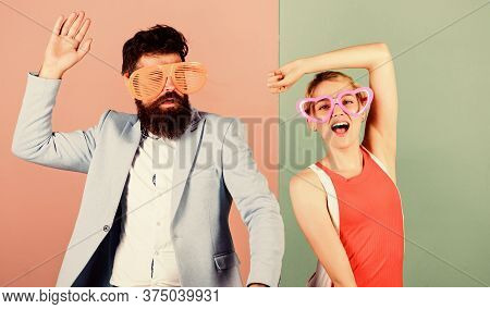 Relax And Have Fun. Corporate Culture. Celebrating Holiday. Bearded Man Pretty Woman Party Goggles C