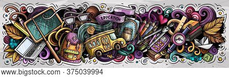 Cartoon Cute Doodles School Banner Design. Colorful Illustration