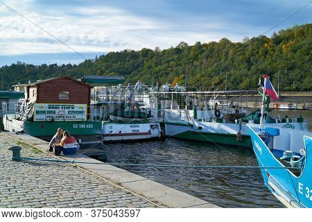 Prague, Czech Republic - September 29, 2019: Pier For Excursion Boats On The Bank Of The Vltava Rive