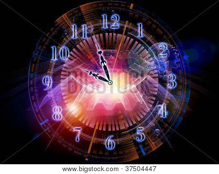 Backdrop composed of clock hands gears lights and abstract design elements and suitable for use on time sensitive issues deadlines scheduling temporal processes past present and future poster