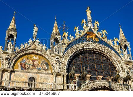 St Mark`s Basilica Or San Marco Close-up, Venice, Italy. It Is Top Landmark In Venice. Beautiful Orn