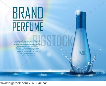 Cosmetic Products Ad. Realistic Perfume Container On Blue Water Background With Drops And Water Spla