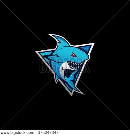 Shark Mascot Sport Logo Design. Shark Animal Mascot Vector Illustration Logo. Wild Shark Mascot, Emb