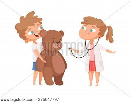 Children Playing. Cute Girl Doctor And Teddy Bear Patient. Kids Play In Hospital, Medical Game For L