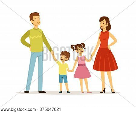 Happy Family. Parents And Children Characters. Father Mother Daughter And Son Together. Isolated Kid