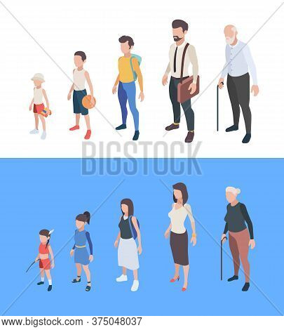 Generations Persons. Male And Female Characters Boys And Girls Man Woman Mother Father Seniors Vecto
