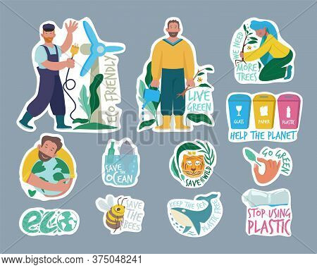 Ecology Labels. Eco Friendly Concept Save Our Planet Environment Vegan People Green Planet Vector Ba