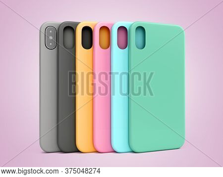Multicolored Phone Cases Presentation For Showcase 3d Render On Color Gradient