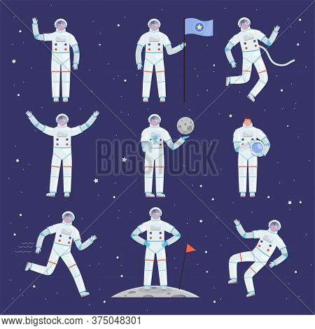 Astronauts Characters. Spaceman People In Action Poses Overall Professional Clothes Suit Vector Cosm