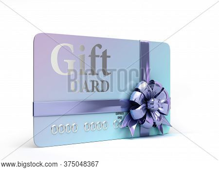 Vip Gift Card With Bow 3d Render On A White