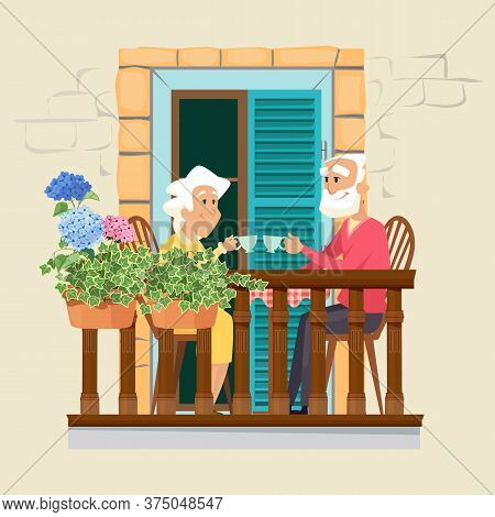 Elderly Couple On Balcony. Neighborhood, Stay Home Concept. Cute Old Man And Woman Drink Tea On Flor