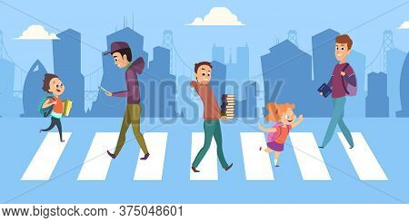 People Cross Road. Teenagers Children At Pedestrian Crossing. Safety And Traffic Regulations Vector