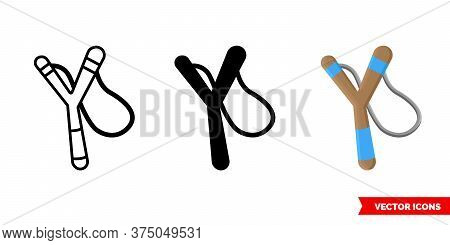Slingshot Icon Of 3 Types. Isolated Vector Sign Symbol.