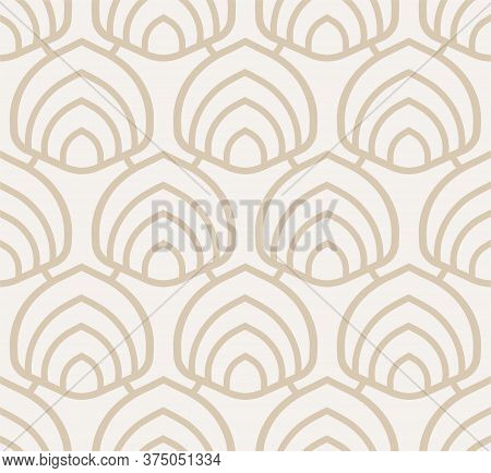 Repeat Retro Graphic Twenties Repeat Pattern. Repetitive Fashion Vector Curved Lattice Texture. Cont
