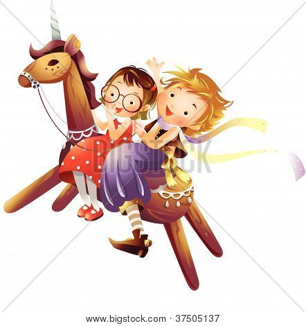 Profile of two girls riding a wooden unicorn