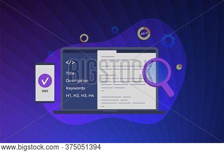 Website Seo (search Engine Optimization) Vector Illustration. Development Of Desktop And Mobile Vers