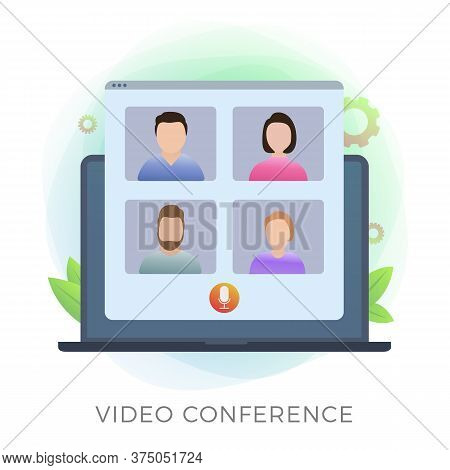 Video Conference Vector Icon Concept. Business Team On Pandemic And Quarantine Due To Covid-19. Onli