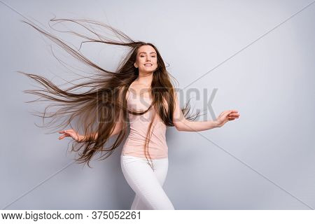 Portrait Of Her She Nice Attractive Lovely Pretty Well-groomed Cheerful Dreamy Brown-haired Girl Wit
