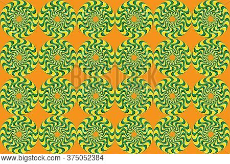 Rotation Movement. Rotating Circles. Hypnotic Show Of Rotation. Optical Illusion, Seamless Pattern.