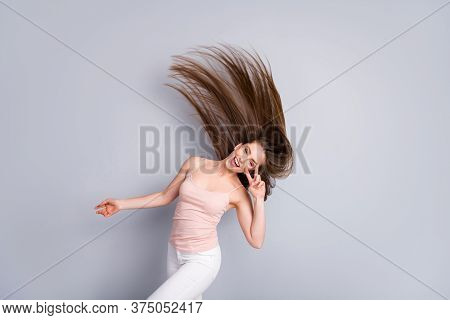 Portrait Of Her She Nice Attractive Charming Pretty Cheerful Optimistic Brown-haired Girl Throwing S