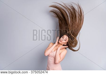 Portrait Of Her She Nice Attractive Charming Lovely Pretty Cheery Brown-haired Girl Throwing Silky H