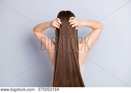 Rear Back Behind View Photo Of Perfect Model Lady Demonstrating Ideal Neat Long Hairstyle After Salo