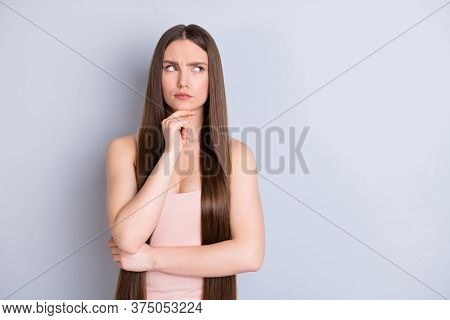 Photo Of Pretty Charming Wondered Lady Ideal Neat Long Hairstyle Look Empty Space Interested Finger