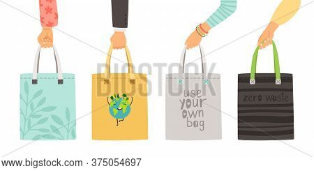 Zero Waste Bags. Arms Holding Own Reusable Bag Poster, Hand Drawn Durable Items Without Plastic Isol