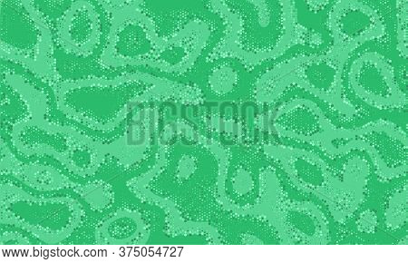 Green Repeated Doted Vector Background. Vibrant Texture Army Seamless Curved Graphic Pattern.  Brigh