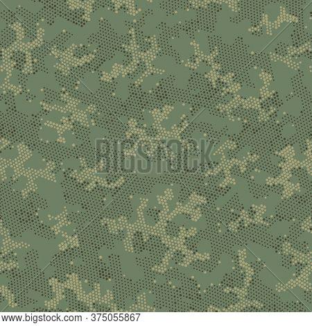Beige Repeated Monochrome Camouflage, Graphic Print.  Seamless Vector Khaki Artistic, Camo Camo. Bro