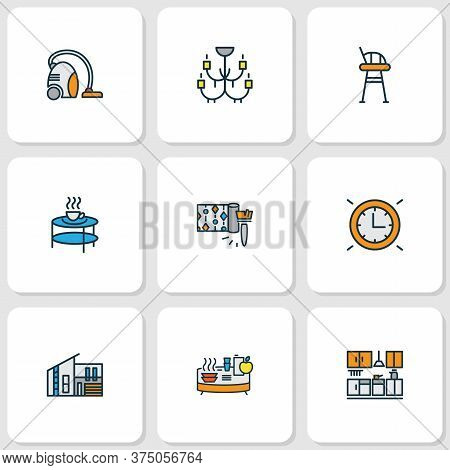 House Icons Colored Line Set With Wall Clock, Tall Chair, Wallpaper And Other Real Estate Elements.
