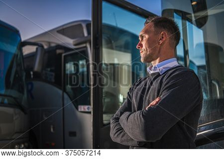 Shuttle Buses Public Transportation Company Owner Staying Proud In Front Of His Vehicles. Transporta