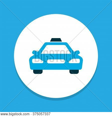 Cab Icon Colored Symbol. Premium Quality Isolated Taxi Element In Trendy Style.