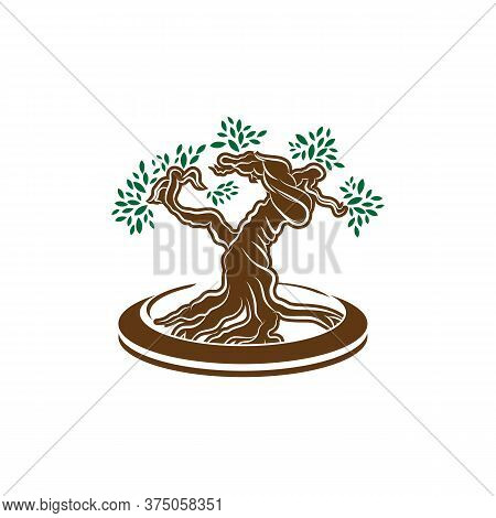 Japanese Bonsai Tree Logo, Plant Silhouette Icons On White Background, Green Ecology Silhouette Of B
