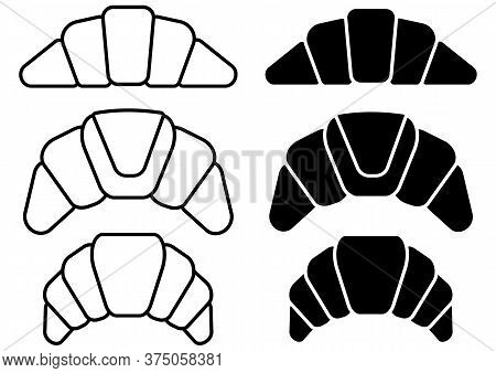 Collection Of Bakery Croissant Icon For Bistro Or Restaurant In Outline And In Glyph Style. Thin Lin