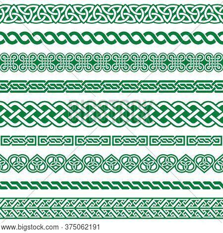 Irish Celtic Vector Seamless Border Green Pattern Set, Braided Frame Designs For Greeting Cards, St