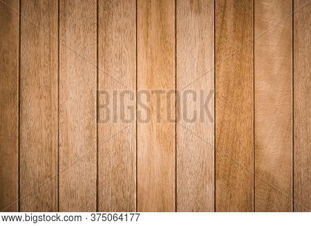Close Up Background And Texture Of Decorative Teak Wood Striped On Surface Wall