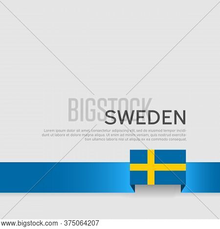 Sweden Flag Color Ribbon On A White Background. Background With Flag Of Sweden. Business Booklet. St