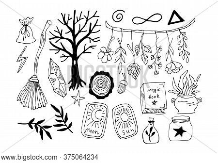 Witchcraft Symbols - Crystal, Broom, Forest, Crystal, Cards, Leaves, Potion, . Vector Magic Illustra