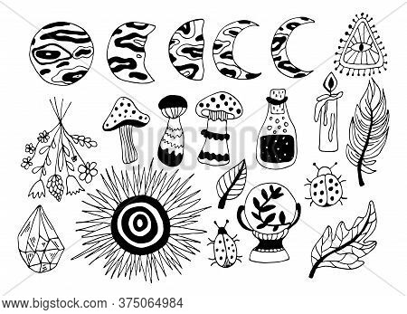 Witchcraft Symbols - Crystal, Feather, Candle, Potion, Magic Ball, Moon And Sun. Vector Magic Illust