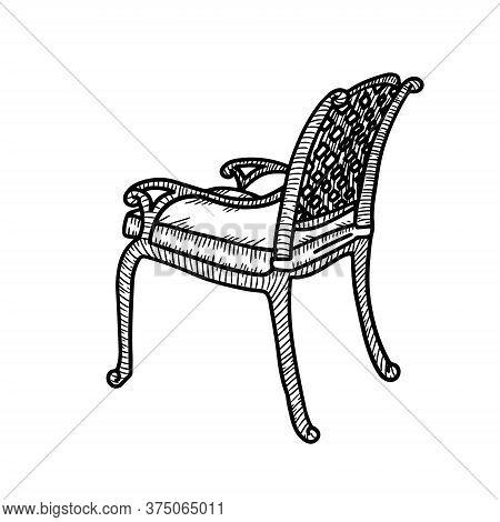 Line Art Wicker Armchair. Wicker Garden Chair Sketch. Outdoor Street Cafe Furniture. Vector Hand Dra