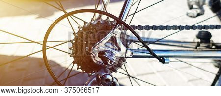 Detail Of Bike Metal Components - Chain, Rear Cassette, Derailleur, Brakes, Shifts.